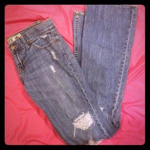 Vintage Vs Pink distressed denim jean's. Rare!